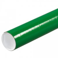 Mailing Tubes with Caps, Round, Green, 3 x 12""