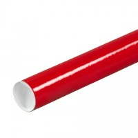 Mailing Tubes with Caps, Round, Red, 2 x 24""