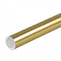 Mailing Tubes with Caps, Round, Gold, 2 x 12""