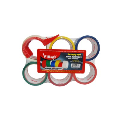 Multicolor Packing Tape with Dispenser, 6 Rolls