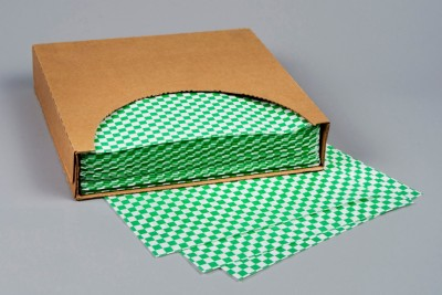 Grease Resistant Paper Sheets, Hunter Green Checkered, 12 x 12