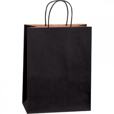 Black Tinted Paper Shopping Bags, Debbie - 10 x 5 x 13