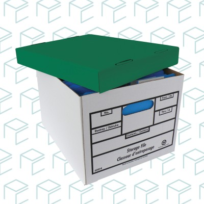 Quick Setup Storage File Box Green Lid -  12 Pack