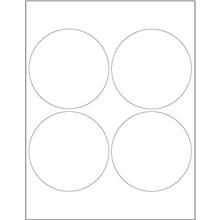 """White Circle Laser Labels, 4"""""""