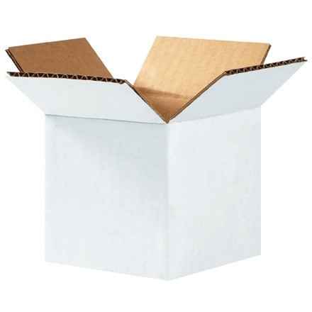 "Corrugated Boxes, 4 x 4 x 4"", White"