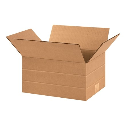 "Corrugated Boxes, Multi-Depth, 12 x 9 x 6"", Kraft"
