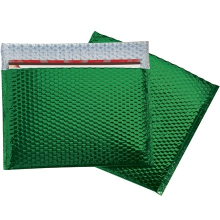 Glamour Bubble Mailers, Green, 13 3/4 x 11""