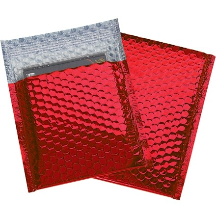 """Glamour Bubble Mailers, Red, 7 x 6 3/4"""""""