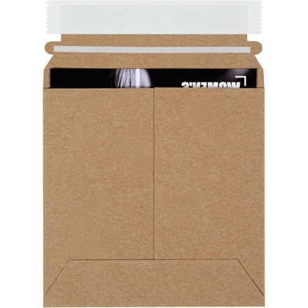 "Flat Mailers, Self-Seal, 6 x 6"", Kraft"