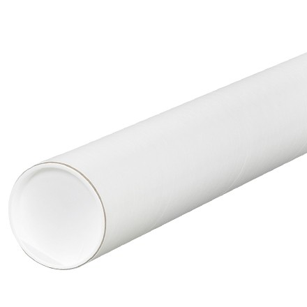 """Mailing Tubes with Caps, Round, White, 3 x 9"""", .060"""" thick"""