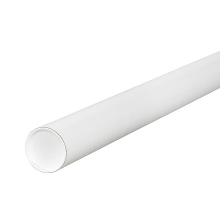 "Mailing Tubes with Caps, Round, White, 1 1/2 x 9"", .060"" thick"