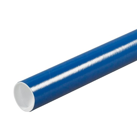 "Mailing Tubes with Caps, Round, Blue, 2 x 6"", .060"" thick"