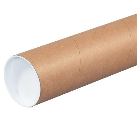 """Mailing Tubes with Caps, Round, Kraft, 3 x 9"""", .060"""" thick"""
