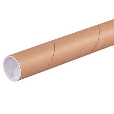 """Mailing Tubes with Caps, Round, Kraft, 1 1/2 x 9"""", .060"""" thick"""