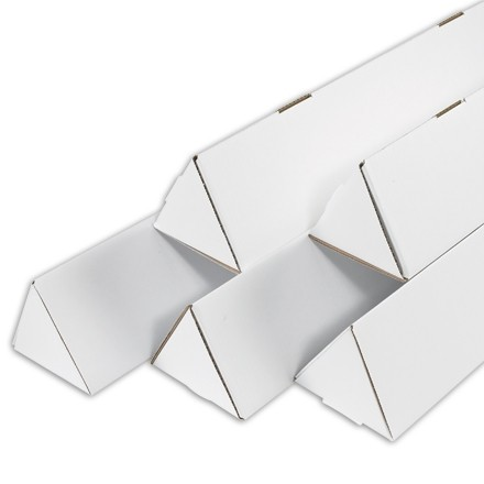 "Mailing Tubes, Triangle, White, 2 x 24 1/4"""