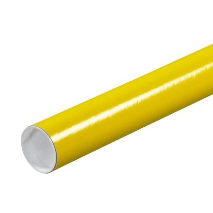 "Mailing Tubes with Caps, Round, Yellow, 2 x 6"", .060"" thick"