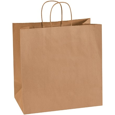 "Kraft Paper Shopping Bags, Star - 13 x 7 x 13"""
