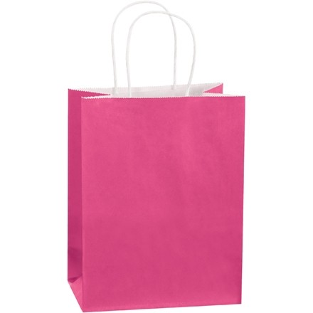 Pink Tinted Paper Shopping Bags, Cub - 8 x 4 1/2 x 10 1/4""