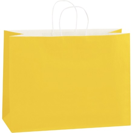 Buttercup Tinted Paper Shopping Bags, Vogue - 16 x 6 x 12""
