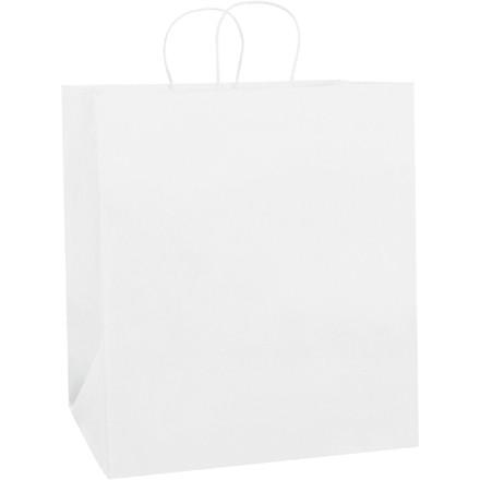 """White Paper Shopping Bags, Take Out - 14 1/2 x 9 x 16 1/4"""""""