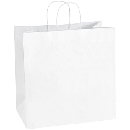 White Paper Shopping Bags, Star - 13 x 7 x 13""