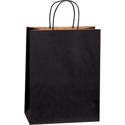 Black Tinted Paper Shopping Bags, Debbie - 10 x 5 x 13""