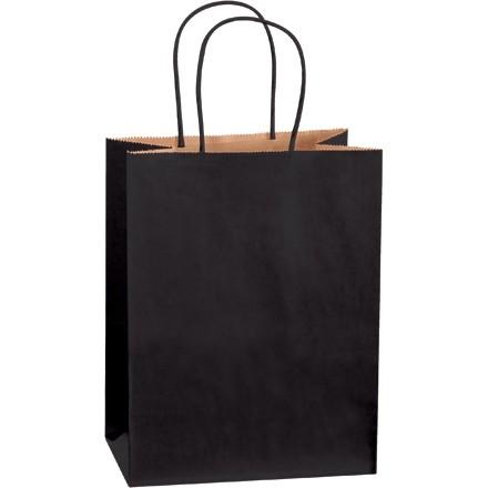 """Black Tinted Paper Shopping Bags, Cub - 8 x 4 1/2 x 10 1/4"""""""