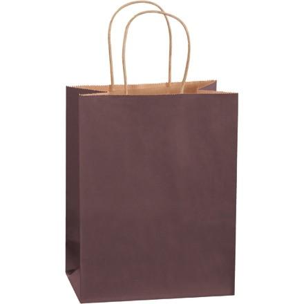 "Brown Tinted Paper Shopping Bags, Cub - 8 x 4 1/2 x 10 1/4"""