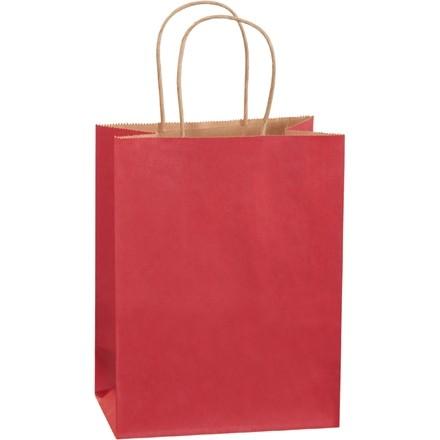 "Scarlet Tinted Paper Shopping Bags, Cub - 8 x 4 1/2 x 10 1/4"""