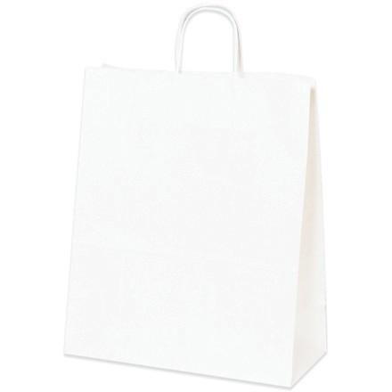 "White Paper Shopping Bags, Traveler - 13 x 6 x 15 3/4"""