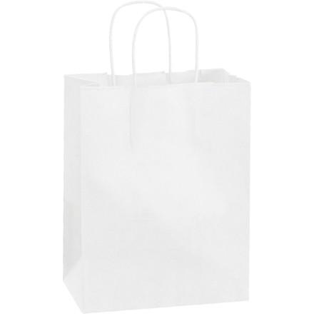"White Paper Shopping Bags, Cub - 8 x 4 1/2 x 10 1/4"""