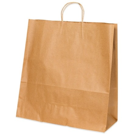 Kraft Paper Shopping Bags, Jumbo - 18 x 7 x 18""