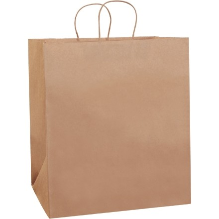 Kraft Paper Shopping Bags, Take Out - 14 1/2 x 9 x 16 1/4""