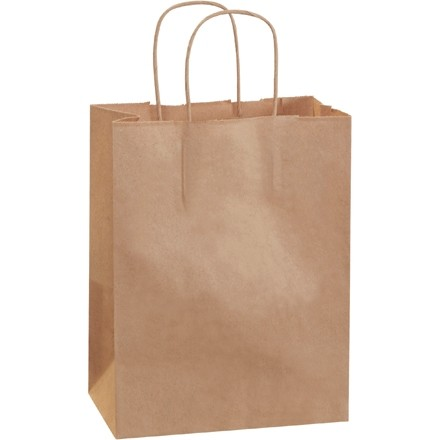 "Kraft Paper Shopping Bags, Cub - 8 x 4 1/2 x 10 1/4"""