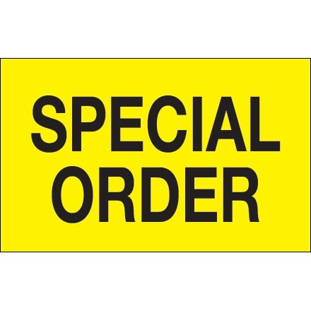 """Fluorescent Yellow """"Special Order"""" Production Labels, 1 1/4 x 2"""""""