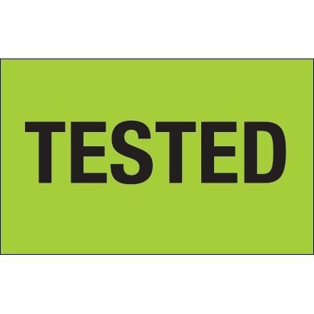 """Fluorescent Green """"Tested"""" Production Labels, 1 1/4 x 2"""""""