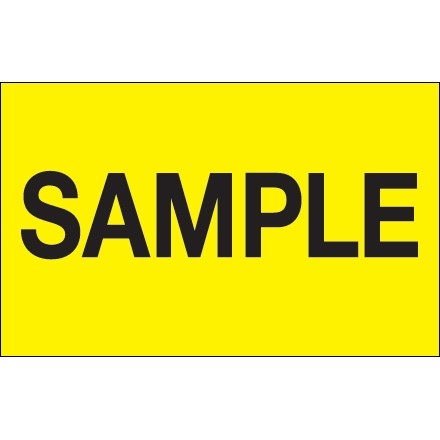 """Fluorescent Yellow """"Sample"""" Production Labels, 1 1/4 x 2"""""""