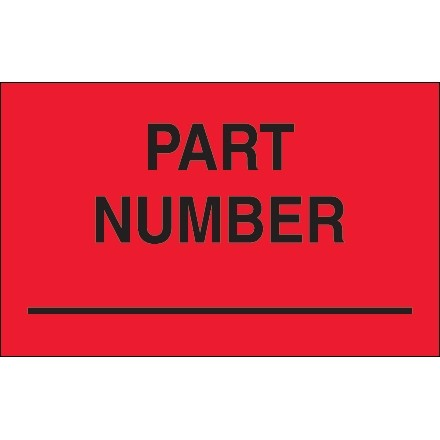 """Fluorescent Red """"Part Number"""" Production Labels, 1 1/4 x 2"""""""