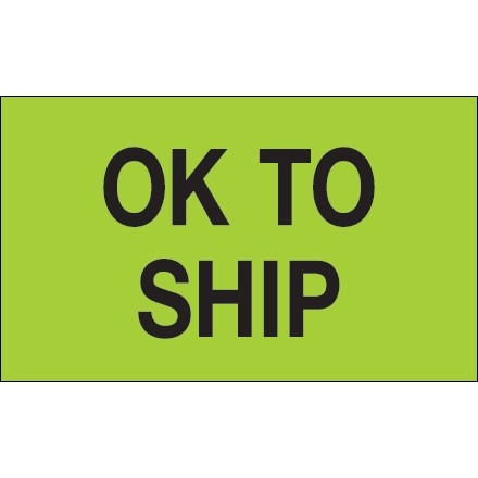 """Fluorescent Green """"OK To Ship"""" Production Labels, 3 x 5"""""""