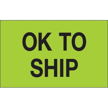 """Fluorescent Green """"OK To Ship"""" Production Labels, 1 1/4 x 2"""""""