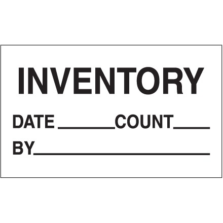 """White """"Inventory - Date - Count - By"""" Production Labels, 3 x 5"""""""