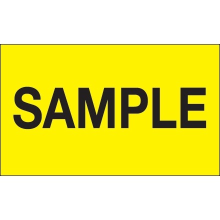 """""""Sample"""" Production Labels, 3 x 5"""", Fluorescent Yellow"""