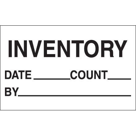 """White """"Inventory - Date - Count - By"""" Production Labels, 1 1/4 x 2"""""""
