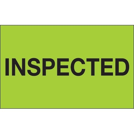"""Fluorescent Green """"Inspected"""" Production Labels, 1 1/4 x 2"""""""