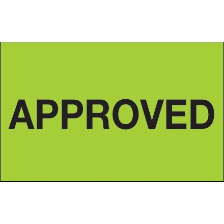 """Fluorescent Green """"Approved"""" Production Labels, 1 1/4 x 2"""""""