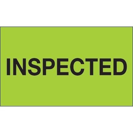 """""""Inspected"""" Production Labels, 3 x 5"""", Fluorescent Green"""