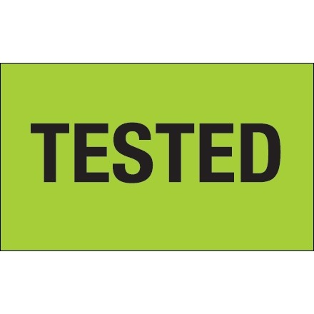 """Fluorescent Green """"Tested"""" Production Labels, 3 x 5"""""""