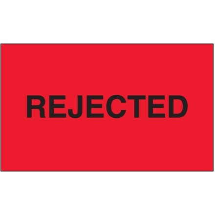 """Fluorescent Red """"Rejected"""" Production Labels, 3 x 5"""""""
