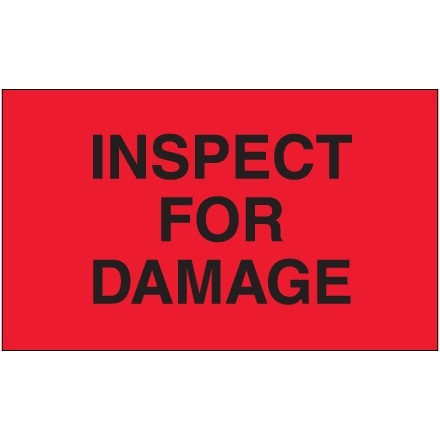 """Fluorescent Red """"Inspect For Damage"""" Production Labels, 3 x 5"""""""