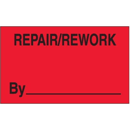 """Fluorescent Red """"Repair/Rework By"""" Production Labels, 3 x 5"""""""